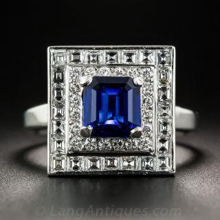 1.33 Carat Square-Cut Sapphire Platinum Diamond Ring - 1