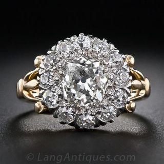 1.35 Carat Center Diamond Antique Cluster Ring