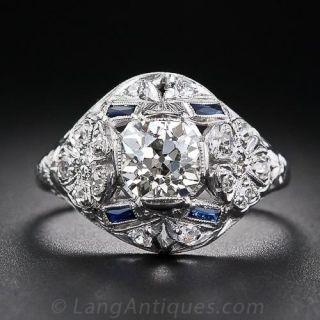1.35 Carat Center Diamond Art Deco Dome Ring - 1