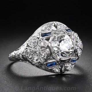 1.35 Carat Center Diamond Art Deco Dome Ring