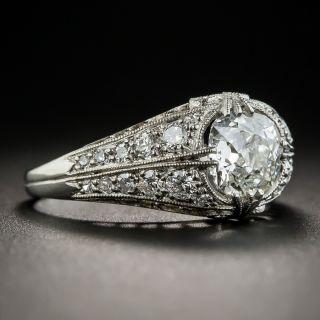 1.35 Carat Platinum Diamond Art Deco Engagement Ring - GIA H I1