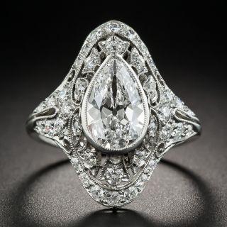 1.36 Ct. D - Internally Flawless Pear Diamond Edwardian/Art Deco Ring-GIA