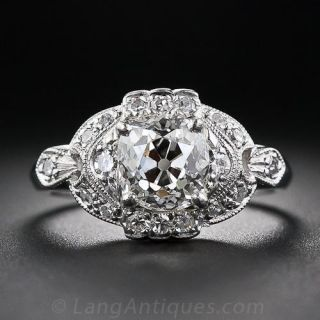 1.37 Carat Cushion-Cut Diamond Art Deco Engagement Ring