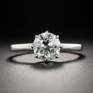 1.38 Carat European-Cut Diamond Platinum Solitaire Engagement Ring - GIA I VS2 - 2