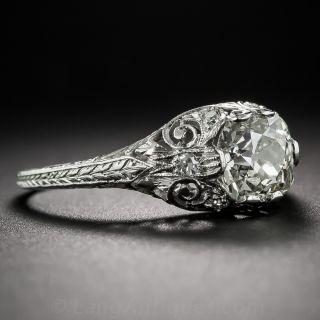 1.42 Carat Antique Cushion Cut Diamond and Platinum Art Deco Engagement Ring
