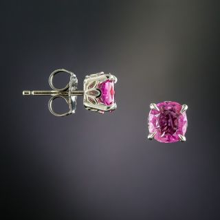 1.42 Carat Pink Sapphire Stud Earrings -Natural, No Heat, Burmese