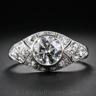1.46 Carat Art Deco Diamond Engagement Ring - 1