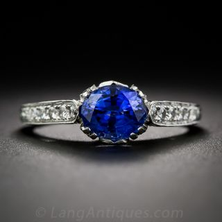 Vintage Style 1.49 Carat Sapphire and Diamond Engagement Ring - 1