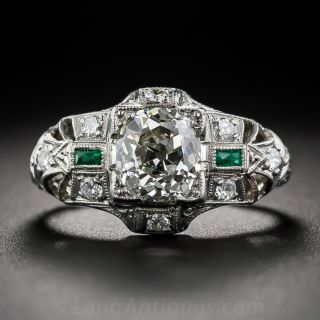 1.50 Antique Cushion-Cut Art Deco Diamond Ring with Emerald Accents
