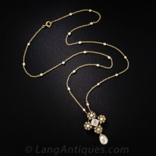1.50 Carat Cushion Diamond and Natural Pearl Necklace