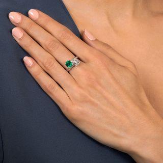 1.50 Carat Emerald-Cut Diamond and 1.11 Carat Emerald Bypass Ring - GIA D VS1