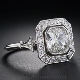1.51 Carat Antique Style Cushion-Cut Diamond Ring