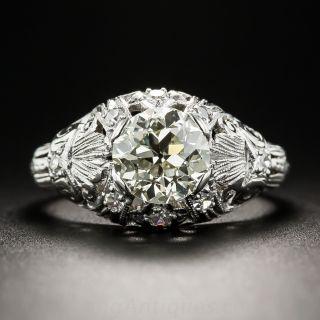 1.51 Carat Diamond Platinum Art Deco Engagement Ring
