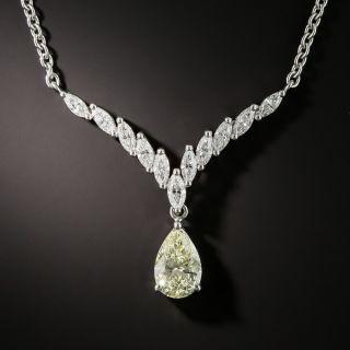 1.51 Carat Pear Shape Diamond Platinum Necklace - 1