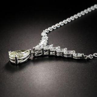 1.51 Carat Pear Shape Diamond Platinum Necklace - GIA