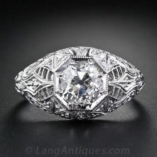 1.51 Carat Pierced Filigree Diamond Engagement Ring