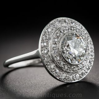 1.52 Carat Diamond Art Deco Double-Halo Ring