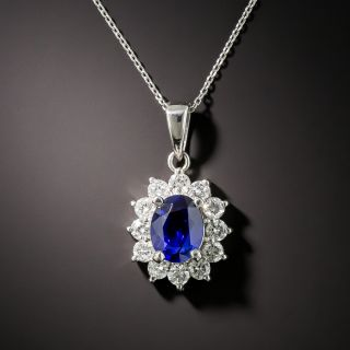 1.52 Carat No-Heat Ceylon Sapphire and Diamond Halo Pendant - 1