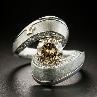 1.53 Carat Natural Fancy Dark Yellowish Brown Diamond Ring - GIA  - 1