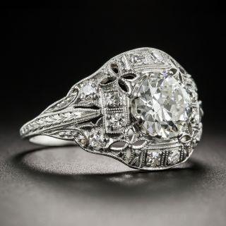 1.52 Carats Art Deco Platinum Diamond Ring - GIA I SI1