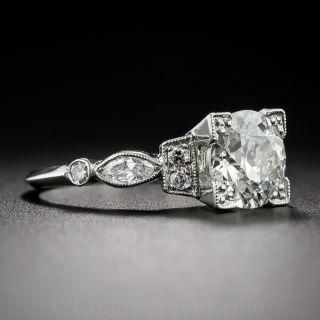 1.55 Carat Diamond and Platinum Vintage Engagement Ring - GIA K VS2
