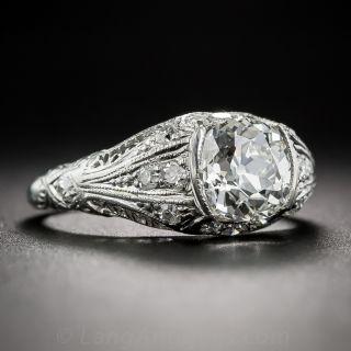 1.56 Carat Cushion-Cut Art Deco Diamond Ring