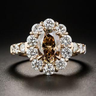 1.56 Carat Natural Deep Orange Brown Oval Diamond 18K Rose Gold and Diamond Ring