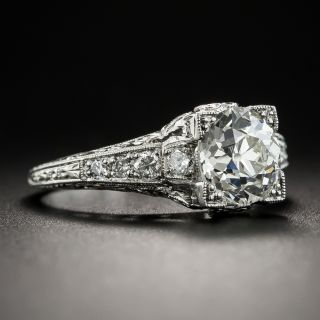 1.57 Carat Diamond Platinum Art Deco Engagement Ring - GIA K VS1
