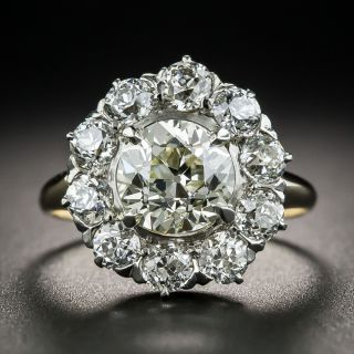 1.57 Carat Diamond Victorian Cluster Ring - GIA M VS1