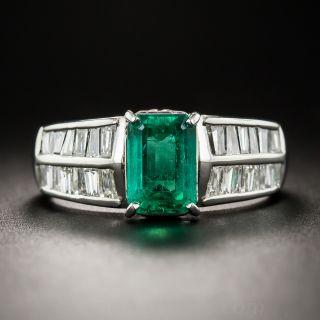 1.58 Carat Emerald Platinum Diamond Ring