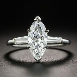 1.58 Carat Marquise Diamond Platinum Engagement Ring - GIA D SI2 - 1