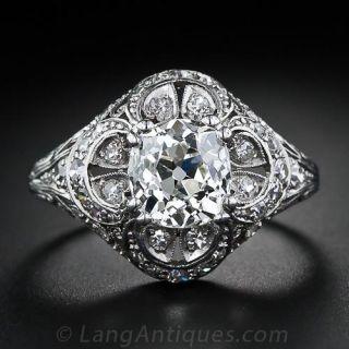 1.59 Carat Antique Cushion-Cut Diamond Ring