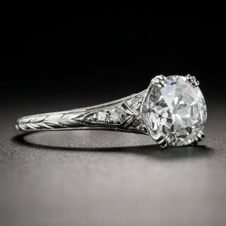 1.59 Diamond Vintage Solitaire Engagement Ring - GIA H VS2