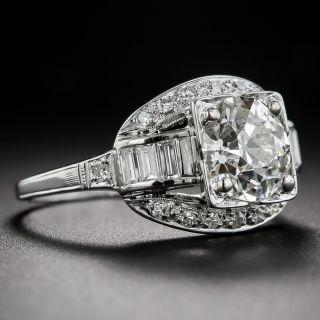 1.60 Carat Art Deco Platinum and Diamond Engagement Ring