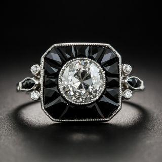 1.60 Carat Art Deco Style Diamond Onyx Ring  - 2