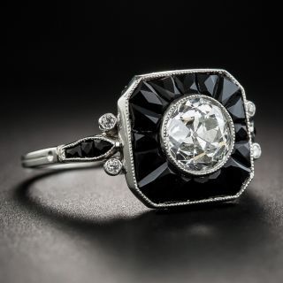 1.60 Carat Art Deco Style Diamond Onyx Ring