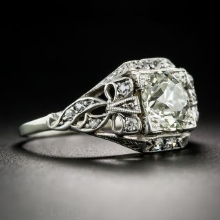 1.60 Carat Vintage Diamond Engagement Ring in Silver