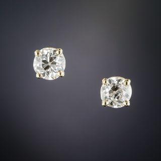 1.60 Carats European-Cut Diamond Stud Earrings
