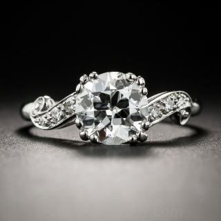 1.61 Carat Diamond Platinum Vintage Engagement Ring - GIA G VS1  - 1