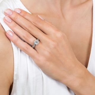 1.61 Carat Diamond Platinum Vintage Engagement Ring - GIA G VS1