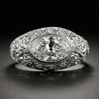 1.63 Carat Moval Diamond - GIA E/VS1 - Platinum Edwardian Ring - 1