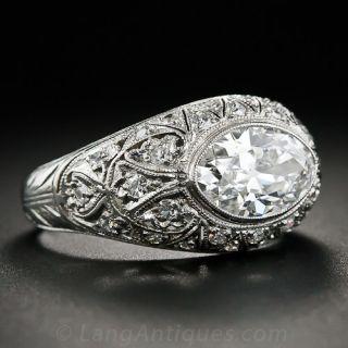 1.63 Carat Moval Diamond - GIA E/VS1 - Platinum Edwardian Ring
