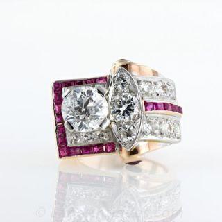 Retro Diamond Ruby Cocktail Ring