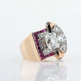 1.65 Carat Diamond Center Retro Ruby and Diamond Ring