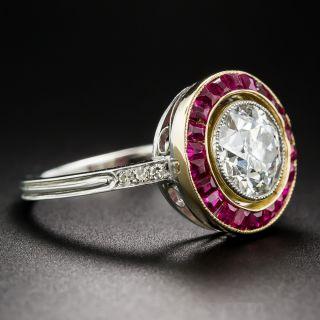 1.65 Carat European-Cut Diamond Ruby Calibre Ring