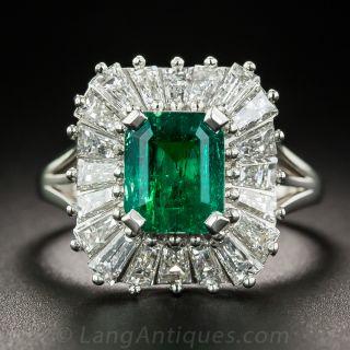 1.68 Carat Emerald Platinum and Diamond Ballerina Ring - 1