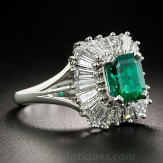 1.86 Carat Emerald Platinum and Diamond Ballerina Ring