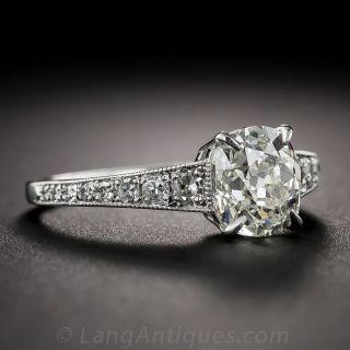 1.72 Carat Antique Cushion Diamond Engagement Ring