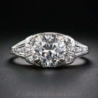 1.72 Carat Art Deco Platinum Diamond Ring  - 1
