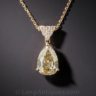 1.72 Carat Natural Fancy Color Pear Shape Diamond Pendant